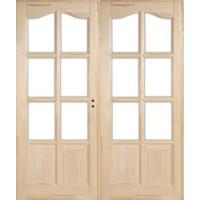 Fenyő íves kazettás beltéri ajtó üvegezhető 140x210 (Pallótokos)