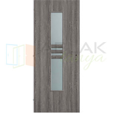 Szürke Tölgy dekorfóliás üveges beltéri ajtó (Blokktokos)