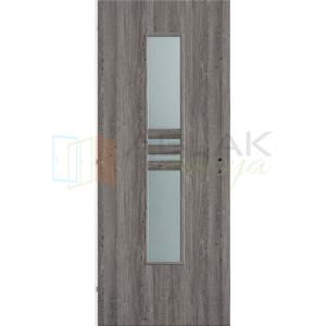 Szürke Tölgy dekorfóliás üveges beltéri ajtó (Blokktokos) - Beltéri ajtó