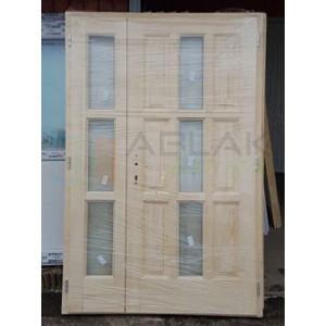 Lucfenyő kétszárnyas fa bejárati ajtó - Kétszárnyú fa bejárati ajtó