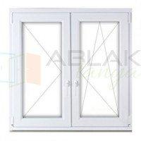 160x130 műanyag ablak, kétszárnyú, tokosztott, nyíló-bukó/nyíló