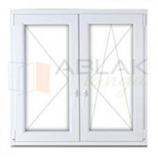 120x120 műanyag ablak, kétszárnyú, tokosztott, nyíló-bukó/nyíló