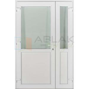 Félig üveges kétszárnyas műanyag bejárati ajtó - Kétszárnyú műanyag bejárati ajtó